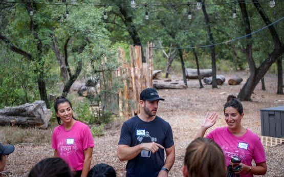 Austin Host Team captains welcoming the group of volunteers